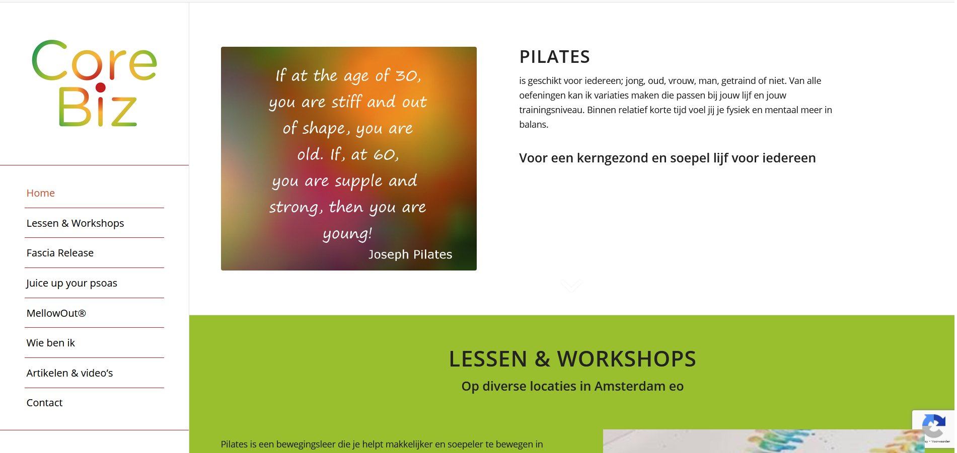 pilates wordpress website